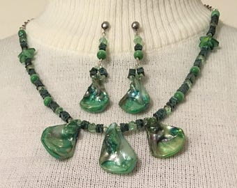 Green Shell necklace and earring set