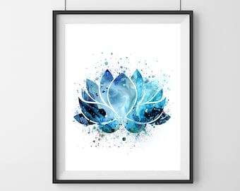 blue lotus flower symbol - Watercolor  - blue lotus flower - yoga