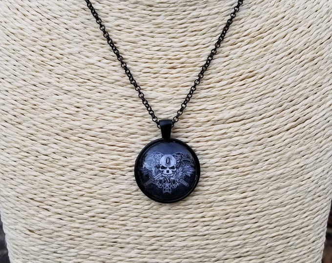 O'Kane Logo Pendant Necklace on a Black Chain