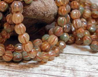 6mm - Czech Beads - Melon Beads - Picasso Beads - Round Beads - Czech Glass Beads - Fluted Beads - 25pcs (2802)
