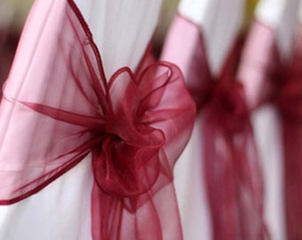 25x Burgundy Organza Chair Sashes Bow Cover for Wedding Engagement Birthday Anniversary Party Reception Ceremony Bouquet Chair Decoration