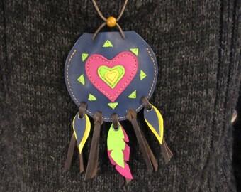 handcrafted heart leather medicine bag