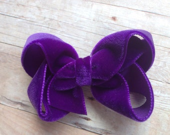 Purple velvet hair bow - hair bows, bows, hair clips, velvet bows, hair bows for girls, baby bows, velvet hair bows, hairbows, toddler bows