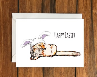 Happy Easter Foxes Blank greeting card A6