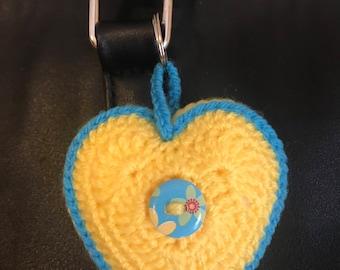 Heart multicoloured keyring keychain bag charm - VARIOUS COLOURS AVAILABLE!