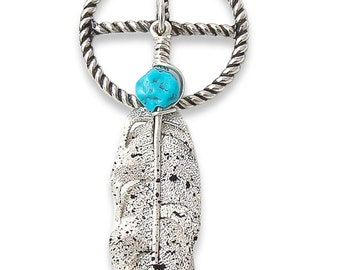 Navajo Sterling Silver Turquoise Feather Medicine Wheel Pendant Ernest Rangel,Authentic Native American Indian Jewelry,Handmade Pendant