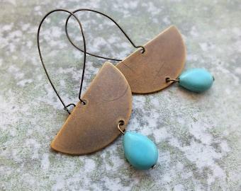 Boho earrings-Turquoise earrings-Boho drop earrings -Gift for Her - Statement Earrings