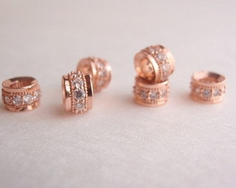 1 Brass Micro Pave Cubic Zirconia Column Bead, Jewelry Making Supply, Rose Gold Column, Clear Color CZ