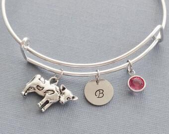 Cow Bracelet, Cow Bangle, Farm, Silver Initial Bangle, Personalized, Expandable, Charm Bracelet, Birthstone Bracelet, BFF, Friend Birthday