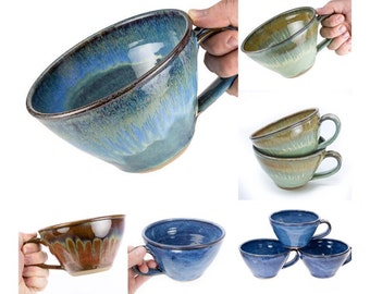 Pottery Soup Mug your choice of Glaze. Wheel thrown stoneware / Chili Bowl / Latte Mug / Soup bowl / MADE TO ORDER - Allow up to 6 weeks