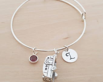 Camper Bangle - Silver Adjustable Bangle - Personalized Initial Bracelet - Swarovski Crystal Birthstone Jewelry - Gift For Her