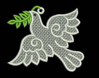 peace dove FSL embroidery design