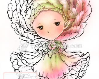 Digital Stamp - Whimsical Ranunculus Sprite - Buttercup Fairy - Fantasy Line Art for Cards & Crafts by Mitzi Sato-Wiuff