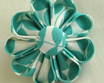 Aqua and White Leafy Print Flower Pin, Summer Fashion Accessory