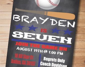 Chalkboard Baseball Birthday Invitation-Boy Birthday Party