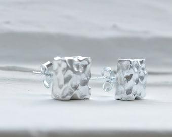 Silver Square Earrings - Hammered Stud Earrings - Sterling Silver Earrings -