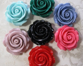 Large Drilled Resin Rose Flower Beads with Hole Choose Your Colors 34mm 927