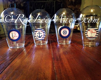 Nautical Sailor Baby Shower Cups with Dome Lids or Flat Lids with Straws/nautical Birthday/Popcorn cups/Fruit Cups/Drink Cups/party cups