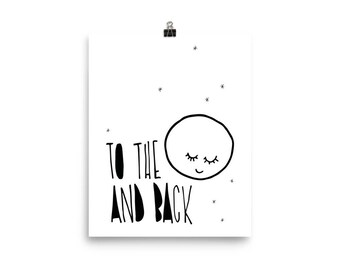 Poster for kids, To the moon and back, kids room and nursery deco