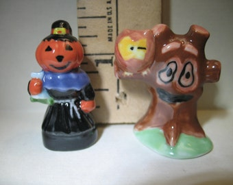 HALLOWEEN Haunted Tree Owl Pumpkin Jack o Lantern Witch Owl -  French Feve Feves Porcelain Figurines Baby Doll House Miniatures L49