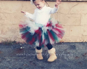"Red White Green - Holiday Traditions - Custom Sewn Tutu - up to 12"" - size Newborn to 5T - Vintage Christmas Collection by Tiara's Boutique"