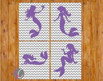 Mermaid Nursery Girls Room Decor Wall Art Choose Your Colors Grey Chevron 8x10 Set of 4 Digital JPG DIY Print Your Own (98)