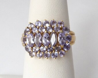 Vintage 14k Genuine Tanzanite Ring Cluster Yellow Gold Ring Size 6.25 Round and Marquise Tanzanite Gemstones