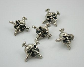 20 pcs. Zinc Silver Tone Cross Nail Skull Head Rivets Studs Leather Craft Decoration Findings 23 mm. SK RN23 K