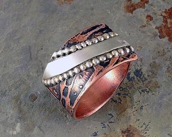 Band Ring, Two-tone Band Ring, Mixed metal Band Ring, Copper and Sterling Ring, Ring Copper and Sterling, Copper and Sterling Band Ring