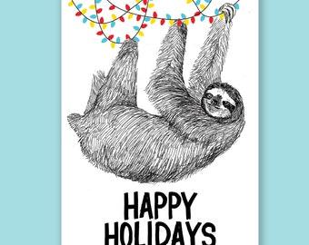 Happy Holidays Sloth Holiday Card