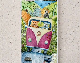 iPhone Cover(all models) - Cat -  VW - Campervan - vacation - Countryside - smartphone - Mobile - Illustration - Samsung Galaxy, ,