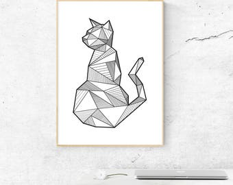 Cat Wall Decor, Geometric Cat Print, Cat Poster, Minimalist Cat Print, Printable Animal, Nursery Decor, Animal Decor, Gift to Her