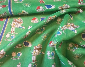 Quirky 1970s Green 'golf' print square scarf