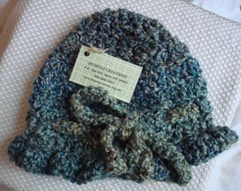 Soft Crocheted Women's Bonnet Hat with Bow Tie - Blue Green 88B