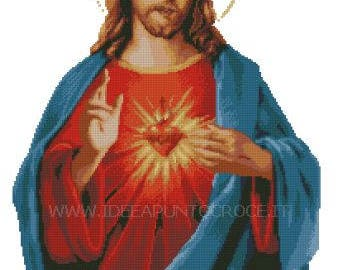 Sacred Heart cross stitch pattern