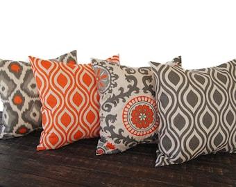 "Throw pillow covers 20"" x 20"" Set Of Four orange gray beige ikat batik cushion cover pillow sham"