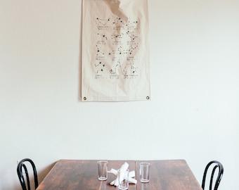 Canvas Banner - Constellations - Wall Hanging - Canvas Flag - Poster - Wall Art - Decor - Horoscope - Pennant - Screenprint - Organic Cotton