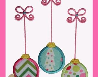 Christmas Ornament Trio Applique design