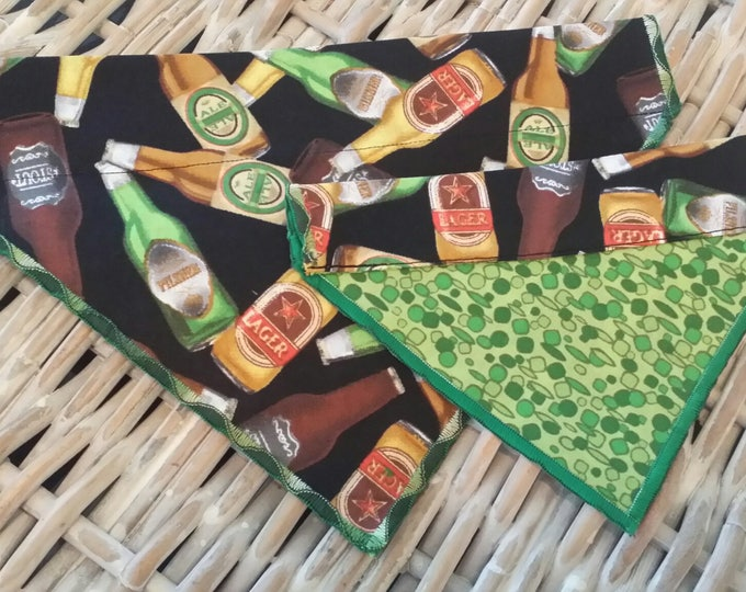 PET BANDANAS-Dog n' Cat-Beer Bottles n' Green