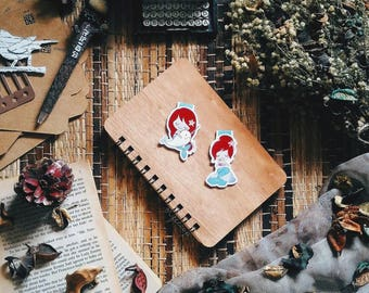 Red Haired Mermaid Magnetic Bookmark