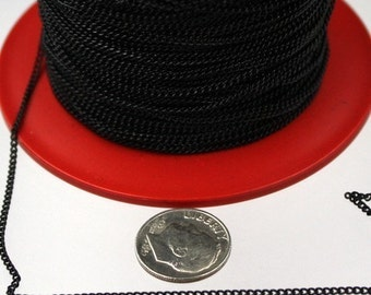 32ft. spool of black little curb chain - 1.5mm