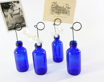 Cobalt Blue Bottle Bud Vases and Photo Holders Place Card Holders Set of Four