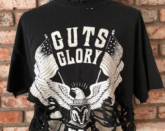 No guts no glory distressed crop