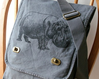 Hippopotamus Canvas Messenger Bag Laptop Bag