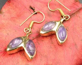 Amethyst brass earrings.