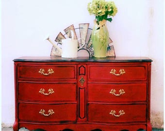 Vintage French Provincial Dresser Boho Gypsy Buffet TV Console Changing Table