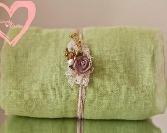 2 item set  Eco Sage green gauze baby wrap 5 feet gauze newborn swaddle & brown flower head tie 2 item set open weave 100% cotton wrap