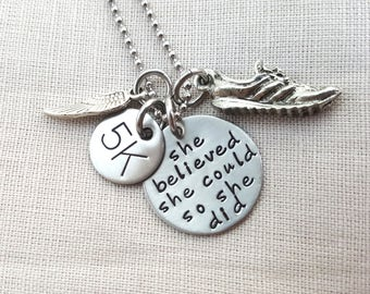 SHE BELIEVED SHE could so she did necklace, running jewelry, running necklace, sole sister, fitness jewelry, running, marathon jewelry, run