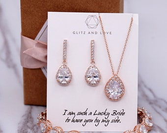 Rose Gold Wedding Bridesmaid Gift Bridal Earrings Necklace Bracelet Jewelry Set Clear White Cubic Zirconia Teardrop Ear Studs E306 B85 N221