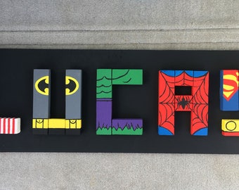 Hand Painted Name Letters (Super Hero Theme)